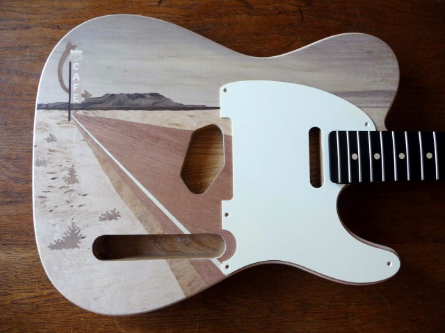 warmoth telecaster route 66 marquetry in progress tests 2