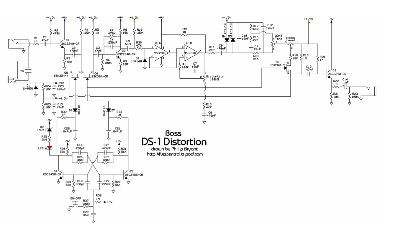 Guitar Fx Layouts Boss Ds 1 Distortion Circuit Diagram Of Jrc4558