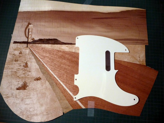 warmoth telecaster route 66 marquetry in progress tests