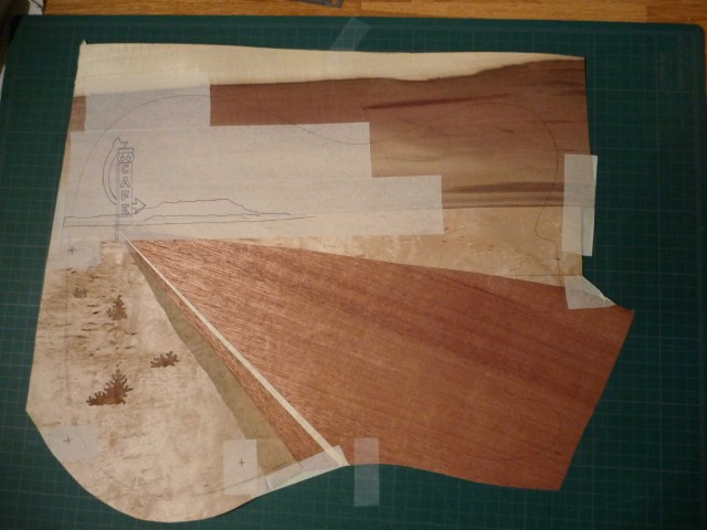 warmoth telecaster route 66 marquetry in progress 1
