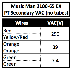 Music Man 2100-65 EX PT Secondary VAC