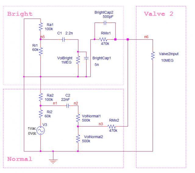 Marshall JMP 50 1987 Normal channel bright bandwidth mix schematic simulation