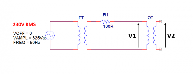 OT schematic measure impedance ratio voltage