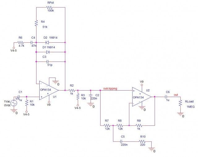 Tubescreamer PSpice Schematic